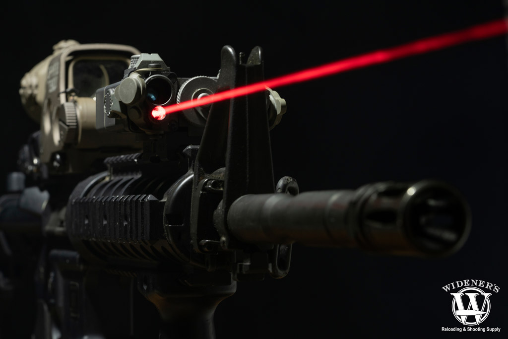 a photo of a rifle with laser attachment