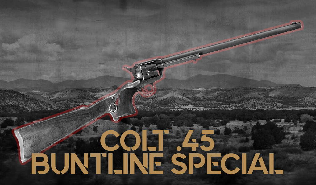 a photo of the Colt 45 Single Action Army Buntline Special