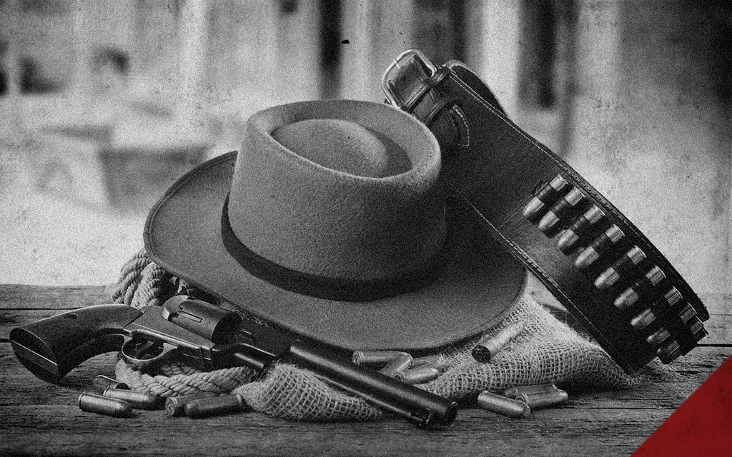 a photo of wild west gunslinger gear doc holliday might have used