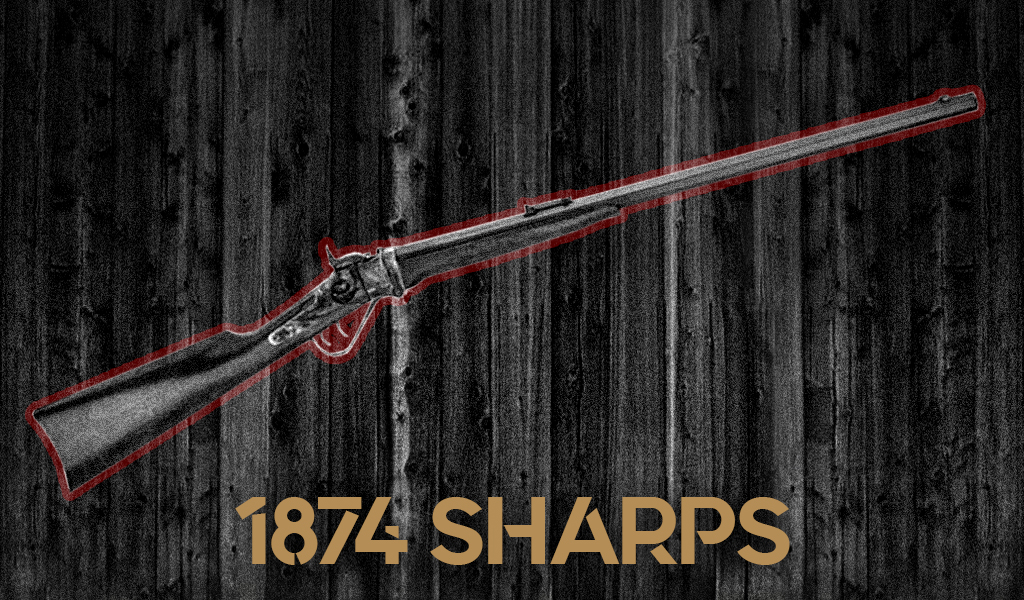 a photo of the Sharps 1874 Rifle guns of pale rider