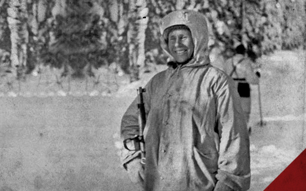 a historical photo of Simo Häyhä during the winter war