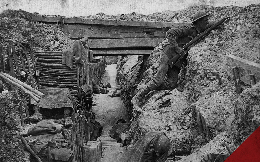 a historical photo depicting WWI trenches