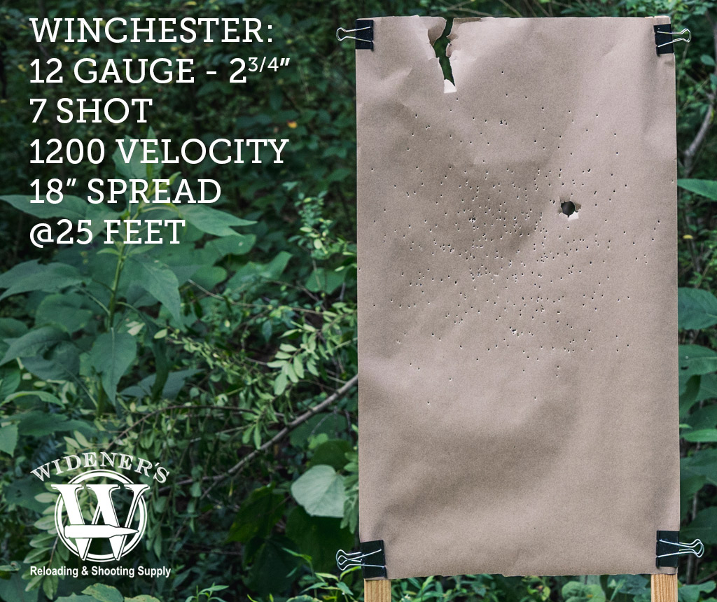 photo of 12 gauge shotgun target shot with Winchester 12 Gauge 2-3/4-Inch Shell, 7 Shot, 1200 Velocity, Shot At 25 Feet.