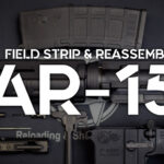 an image showing how to field strip an AR-15 rifle