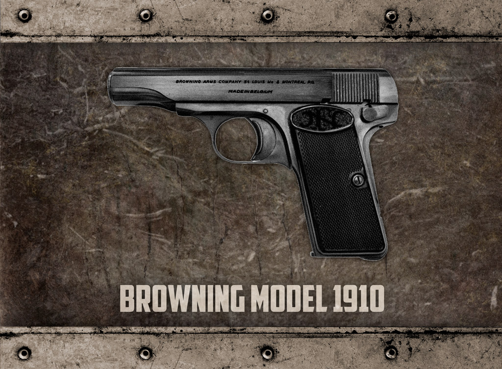 a photo of the browning model 1910 semi automatic pistol