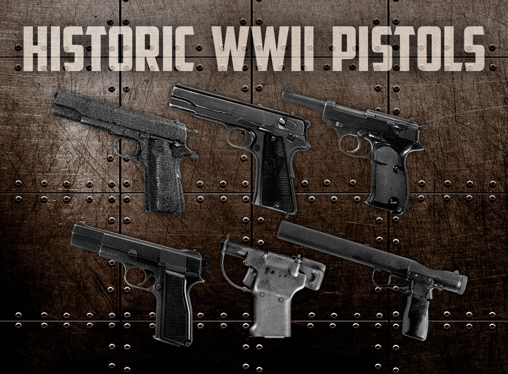 a photo of WWII pistols