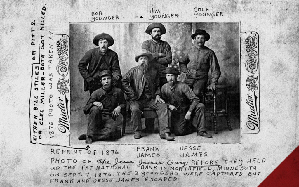a photo of the notorious james-younger gang